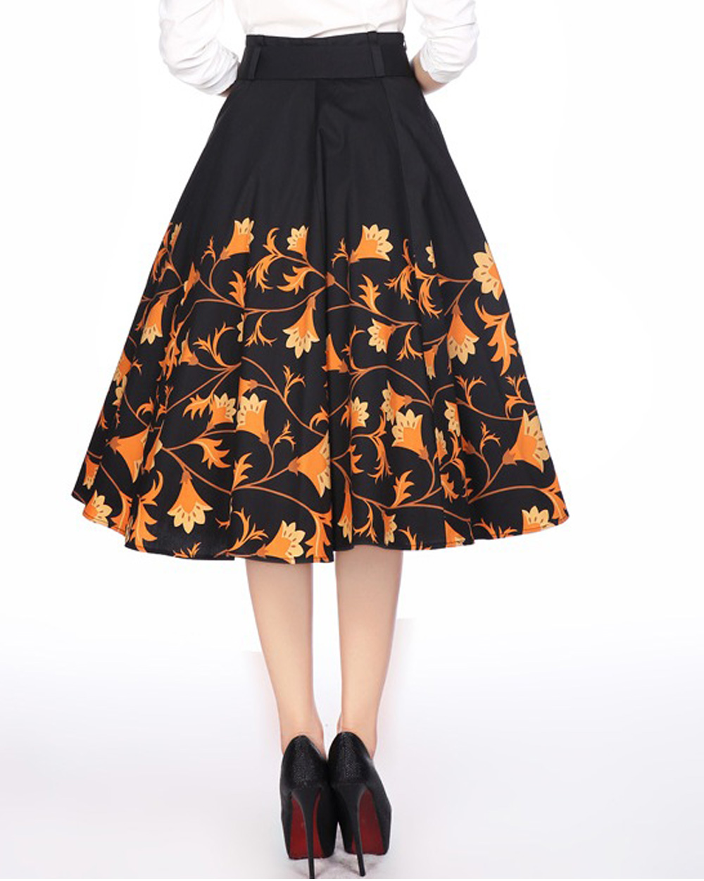 72e01e0f3 Details about RK106 1950s Floral Flower Circle Swing Dance Skirt Rockabilly  Pin Up Retro Rock