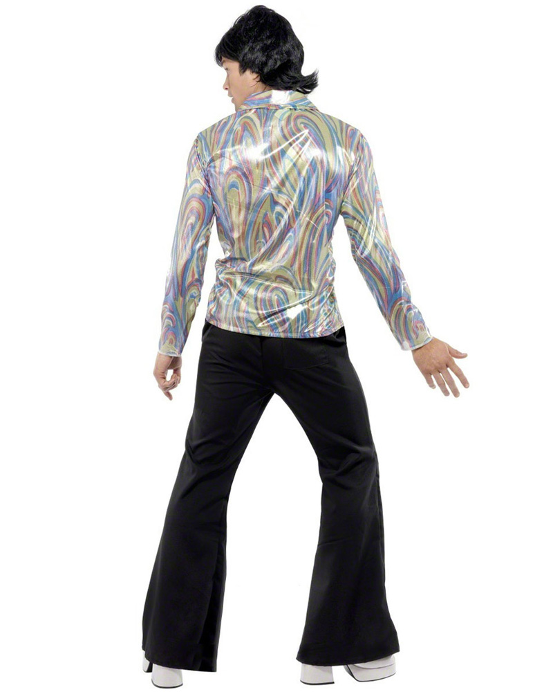 CL294 70's Retro Man Costume Rainbow Paisley Shirt