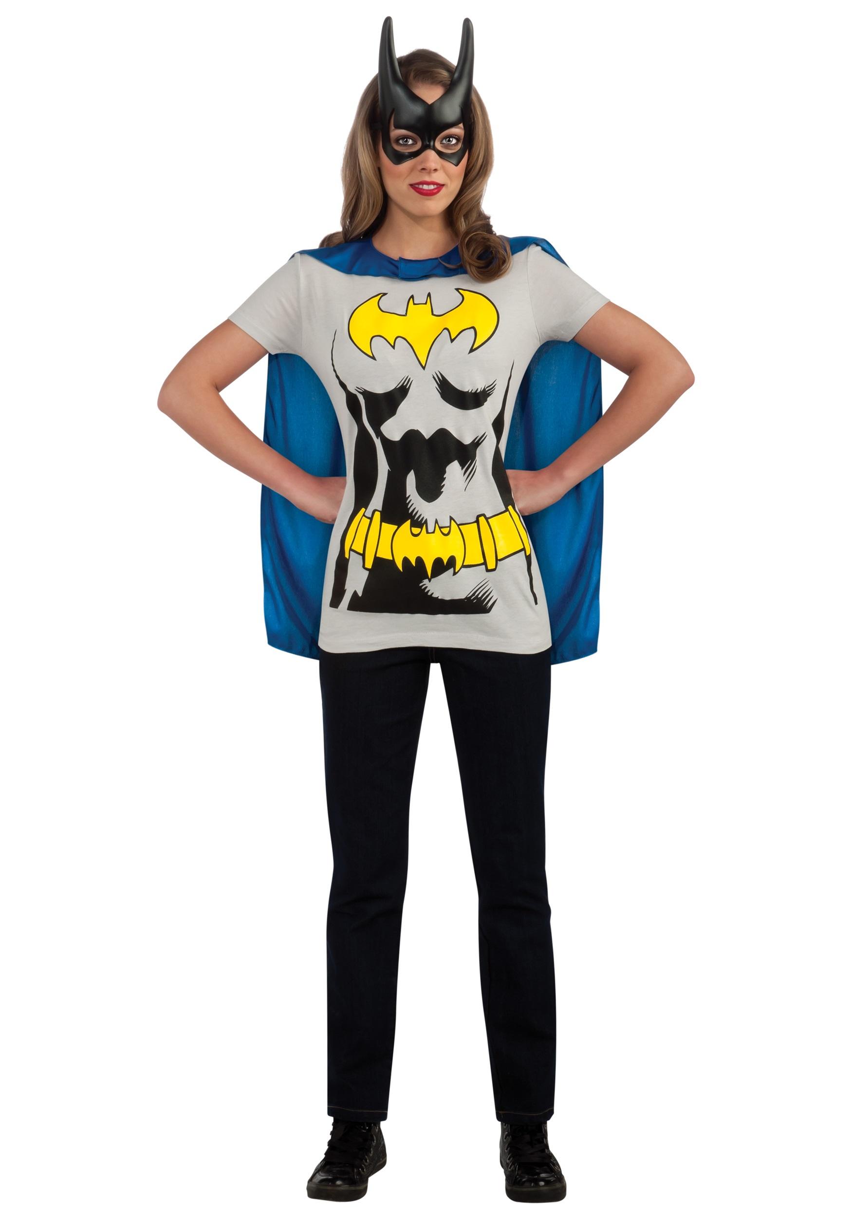 C956 Superhero T-Shirt Women Costume Wonder Woman Robin Supergirl Batgirl /& Cape