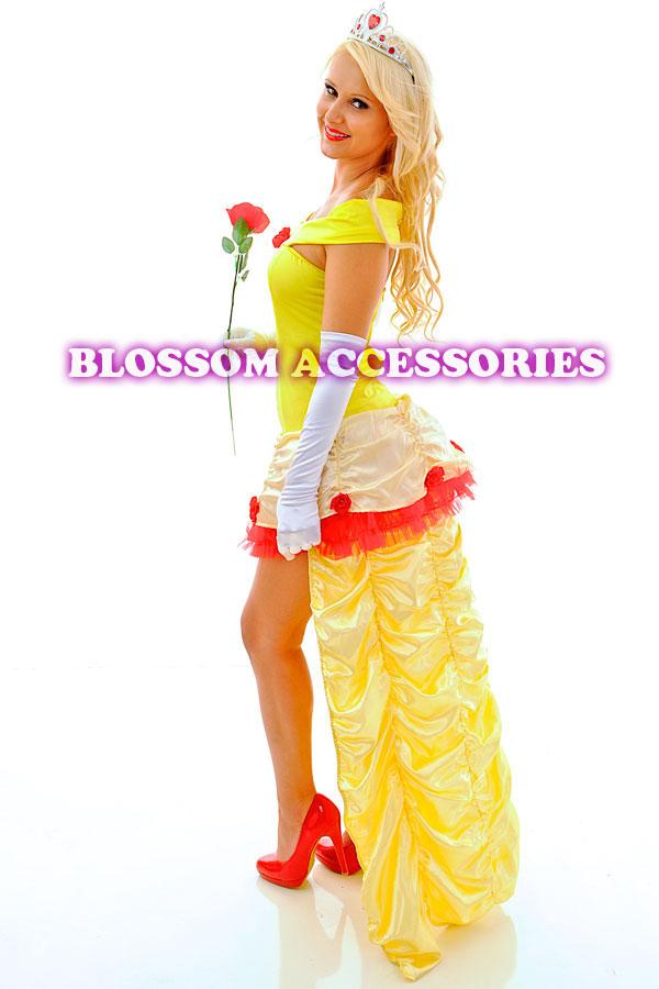 F86 Ladies Princess Belle Beauty /& The Beast Fancy Dress Halloween Costume+Tiara