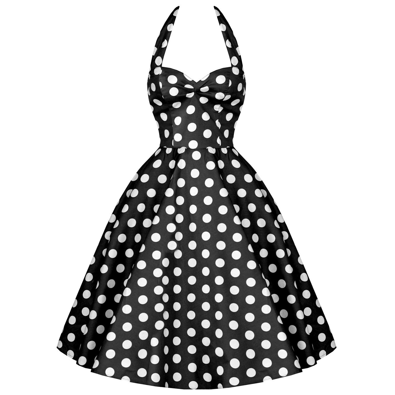 ff6709b755b8b0 RK76 Rockabilly Polka Dot Halter Party Work Dress 40s 50s Retro Emo ...