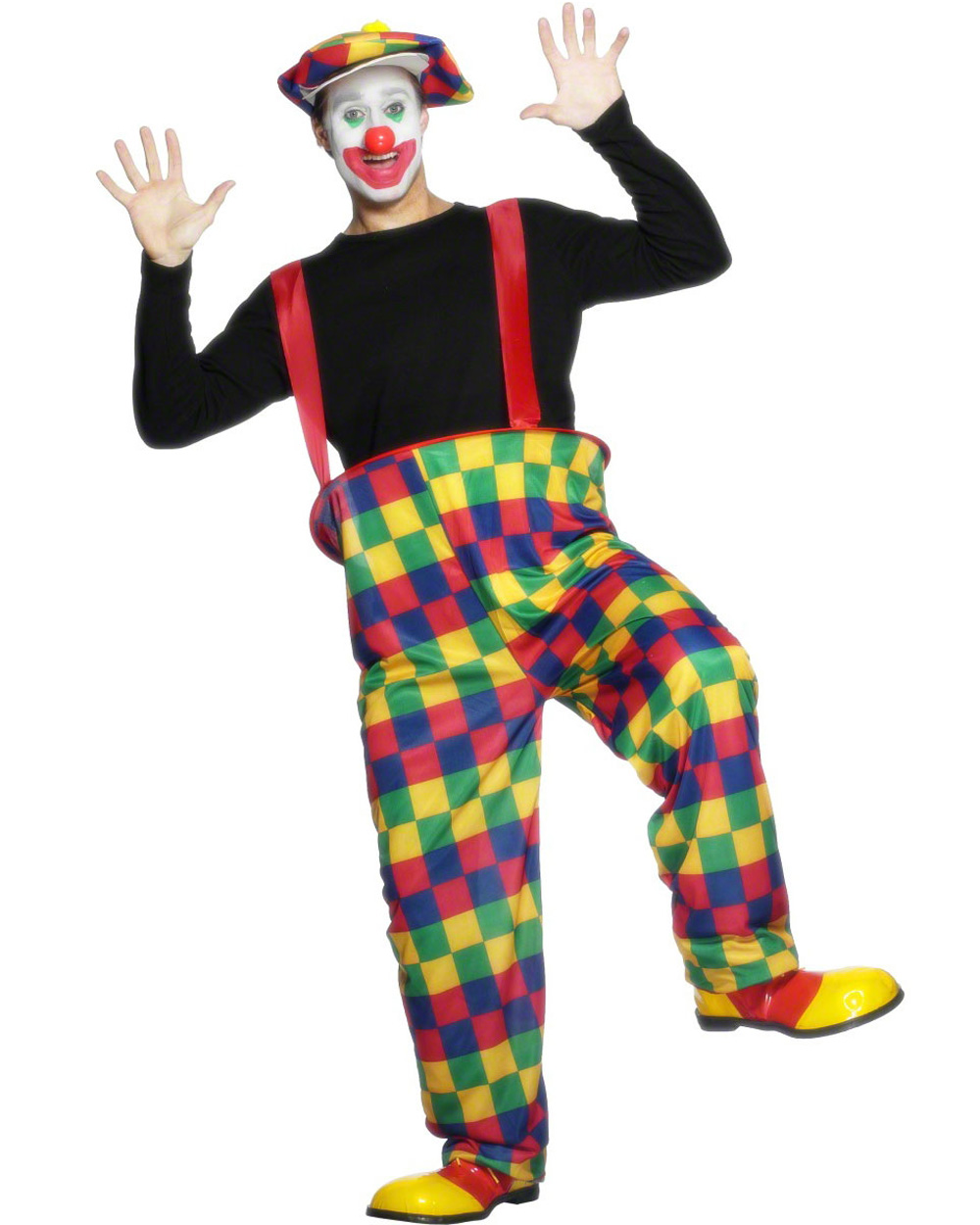 CL422 Mens Clown Hooped Pants Funny Circus Pants Hat