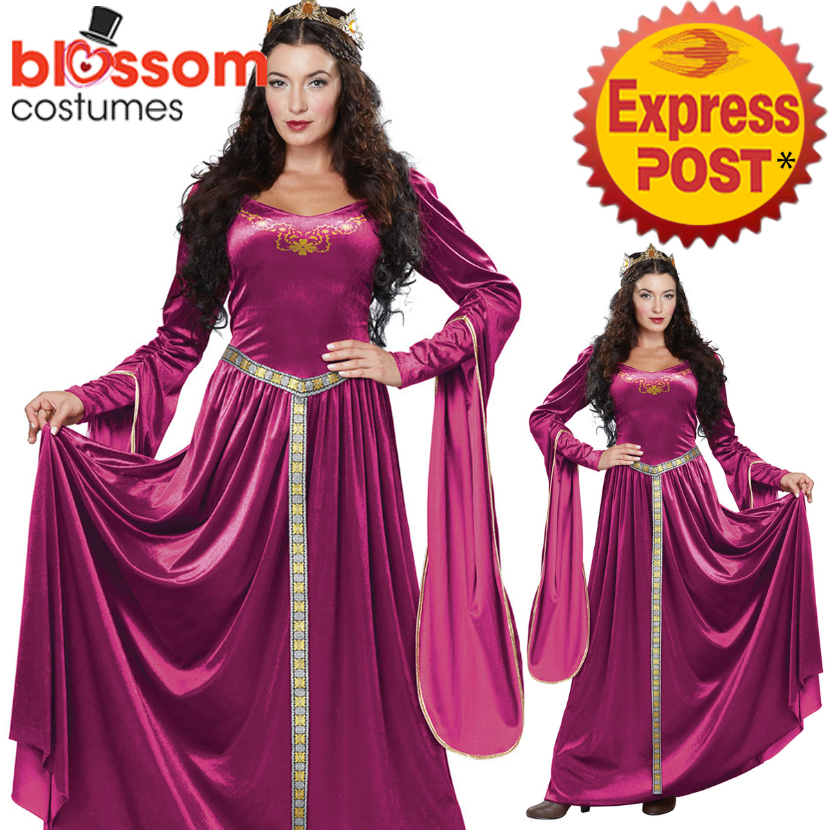 CA141 BURGUNDY Lady Guinevere Renaissance Queen Medieval Maiden Gown ...