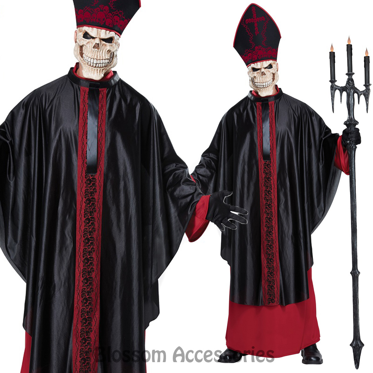 Image is loading CA111-Black-Mass-Zombie-Priest-Holy-Pope-Religious-  sc 1 st  eBay & CA111 Black Mass Zombie Priest Holy Pope Religious Horror Mens ...