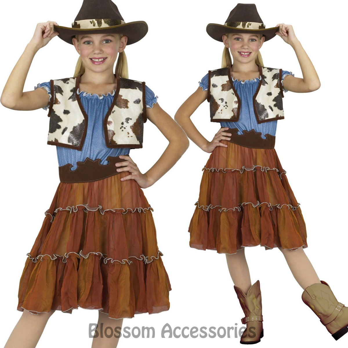 Image is loading CK609-Cowgirl-Kids-Western-Wild-West-Cowboy-Indian-  sc 1 st  eBay & CK609 Cowgirl Kids Western Wild West Cowboy Indian Rodeo Fancy Dress ...
