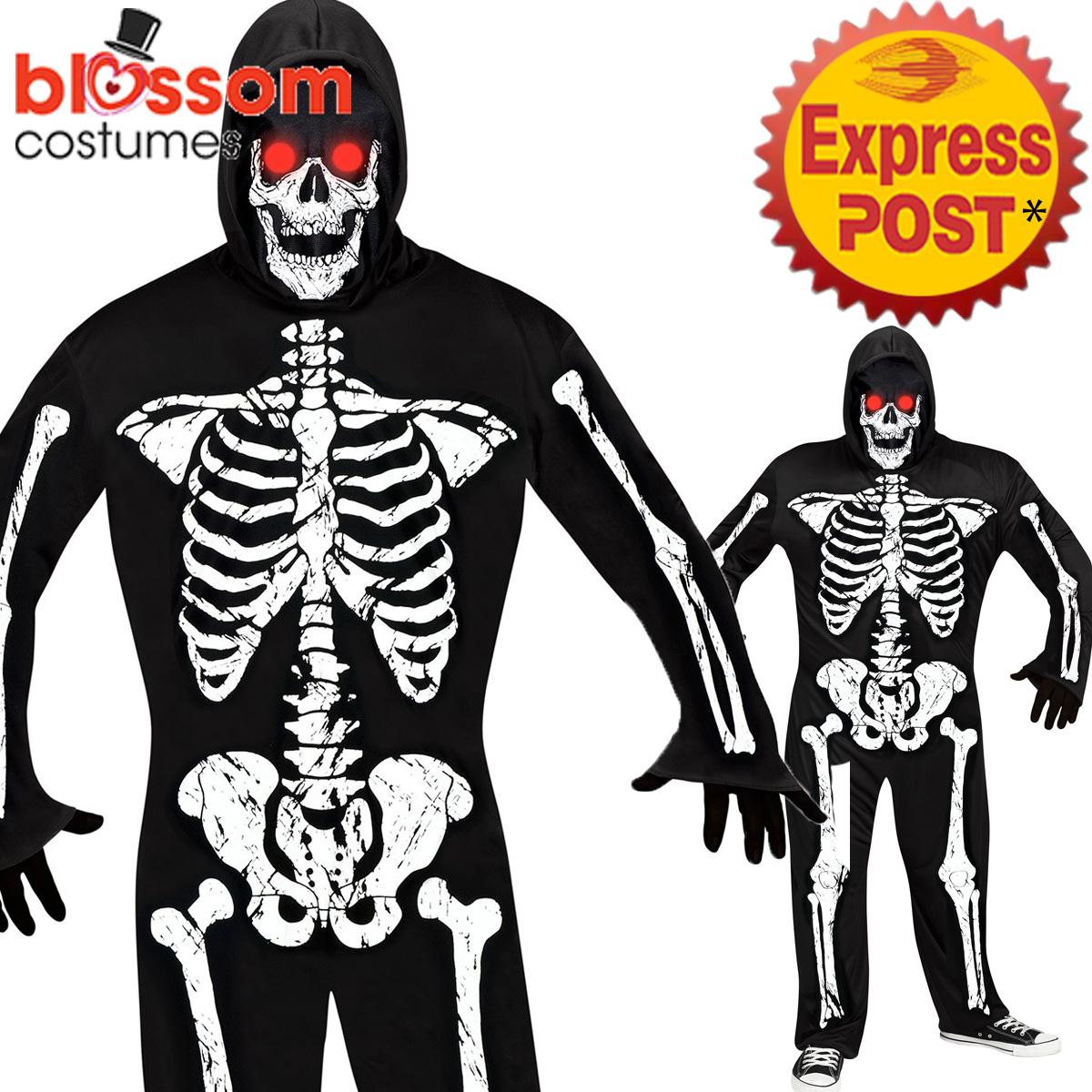 2911918936bd CA453 Mens Fade In Out Skeleton Phantom Horror Halloween Light Up ...