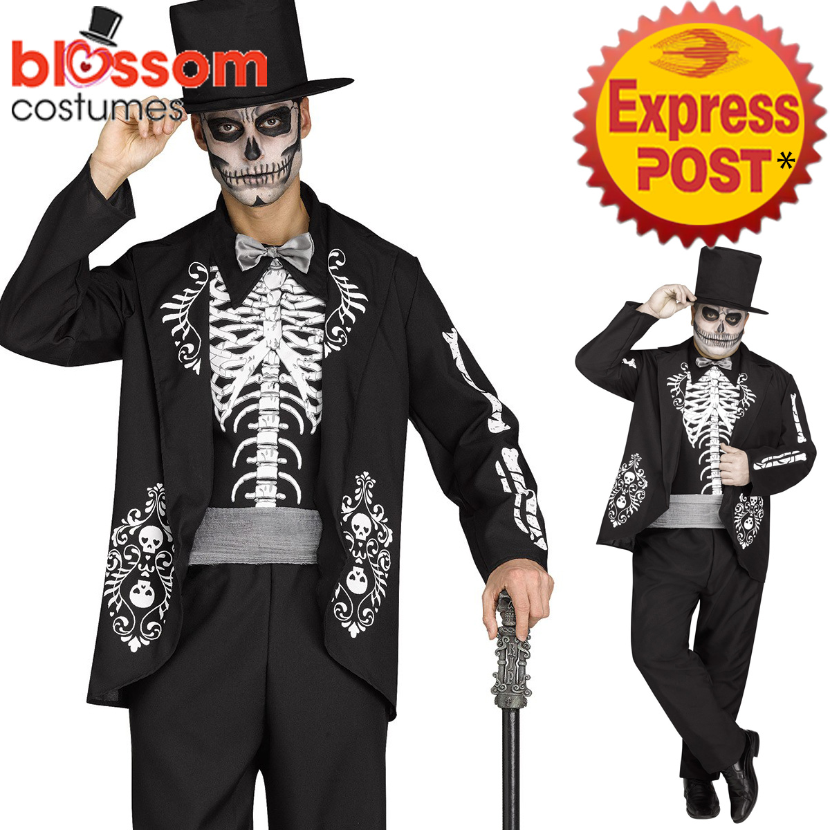 ca452 mens skeleton king costume day of the dead halloween