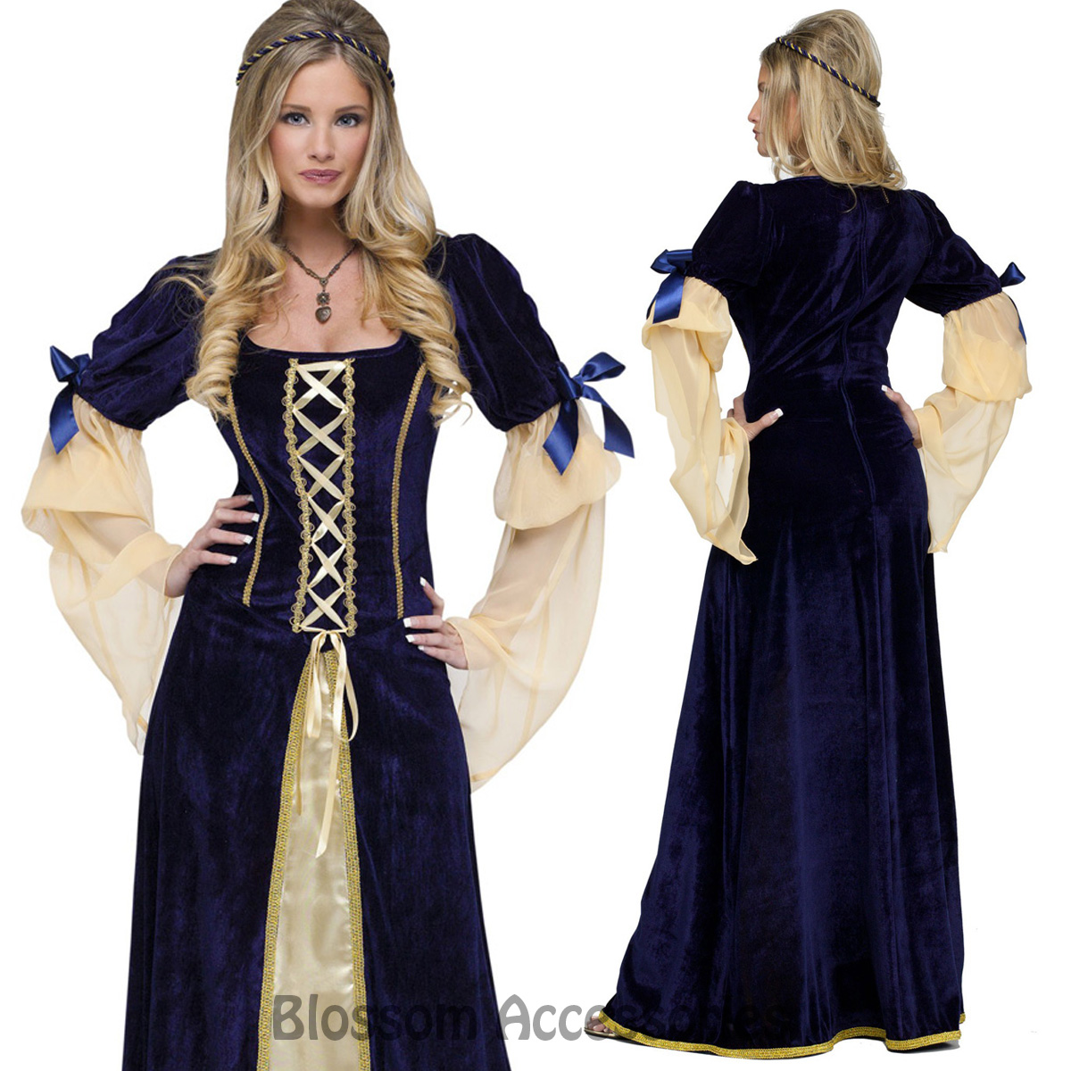 K271 Blue Long Gown Game Thrones Renaissance Medieval Queen Fancy ...