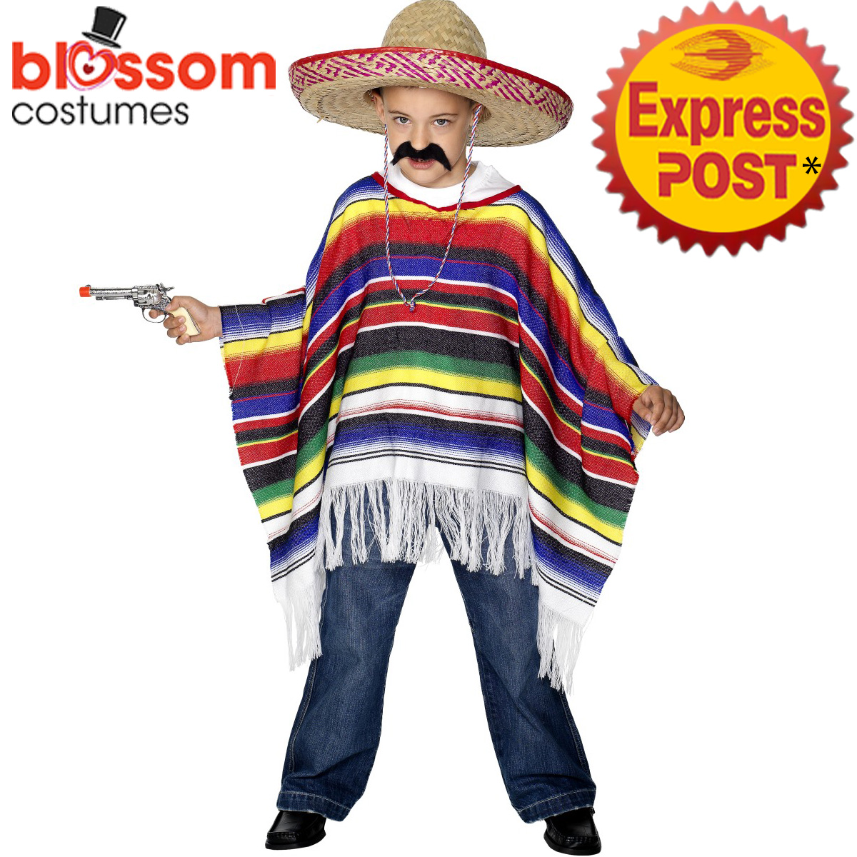 ck992 kids mexican poncho serape fiesta spanish costume wild west