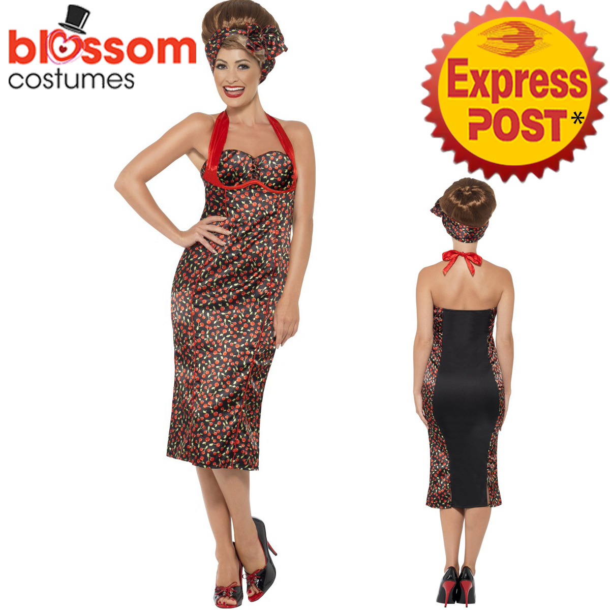 CA203-1950s-Rockabilly-Cherry-Pin-Up-Rock-amp-Roll-Fancy-Dress-Womens-50s-Costume