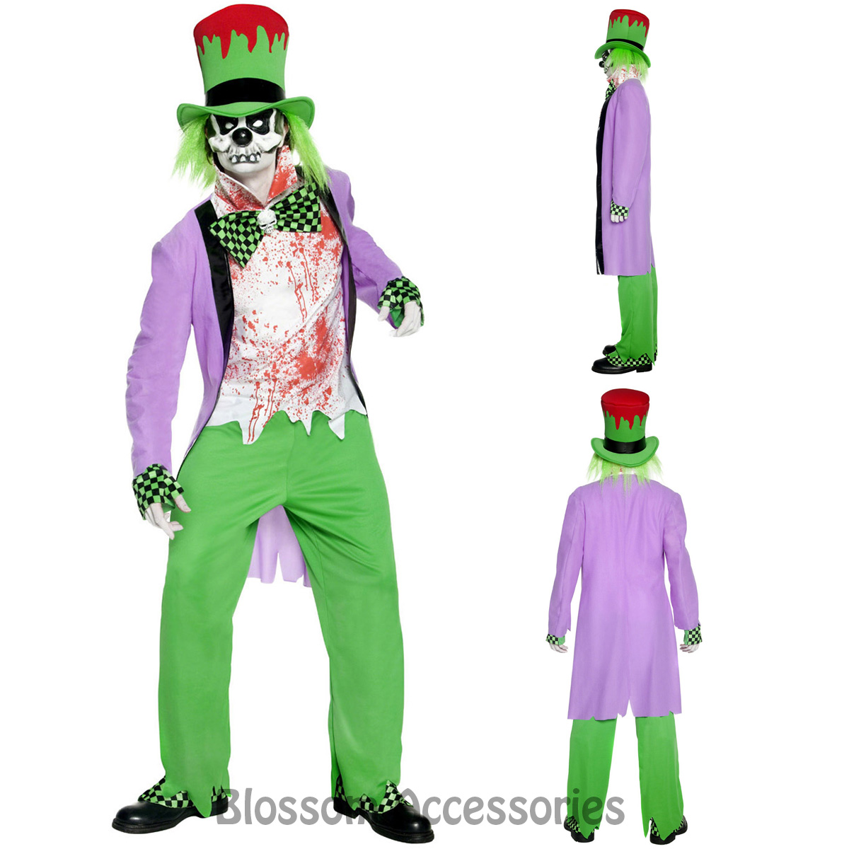CL905 Mens Bad Hatter Halloween Zombie Evil Costume Twisted Alice In Wonderland - eBay