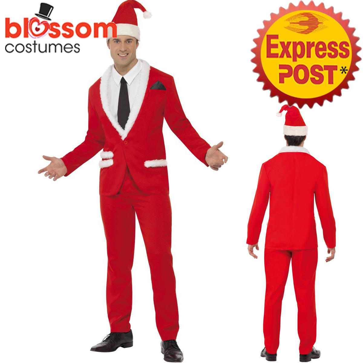 CA478 Mens Santa Cool Father Christmas Xmas Suit Costume Christmas Fancy Dress
