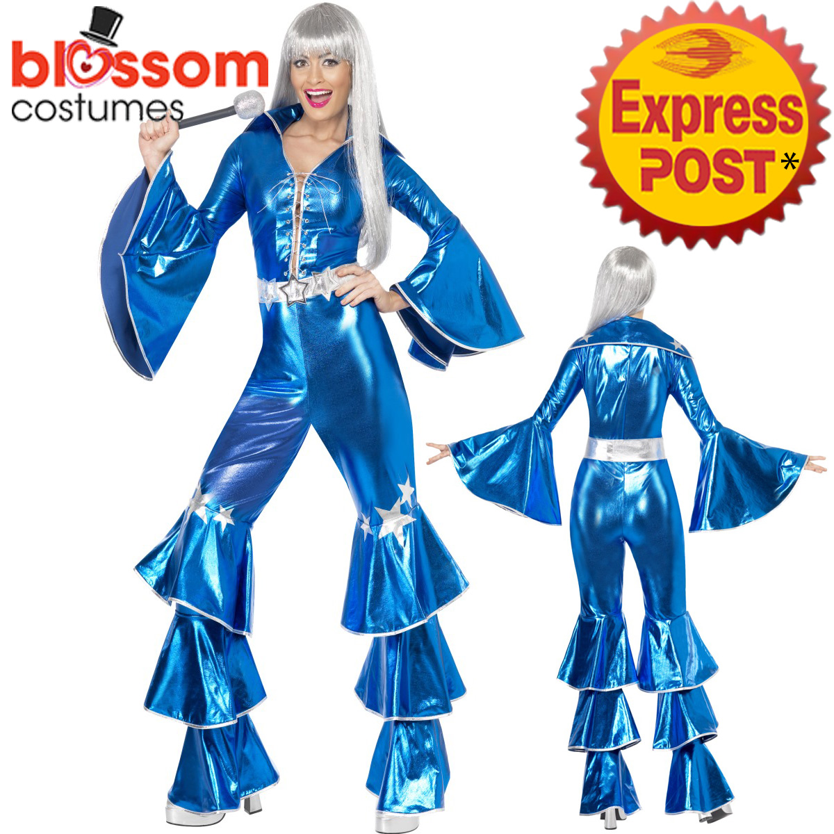 9486b7bc5fb6 Image Is Loading CA154-Blue-1970s-Dancing-Dream-70s-Women-Disco- Sc 1 St  EBay