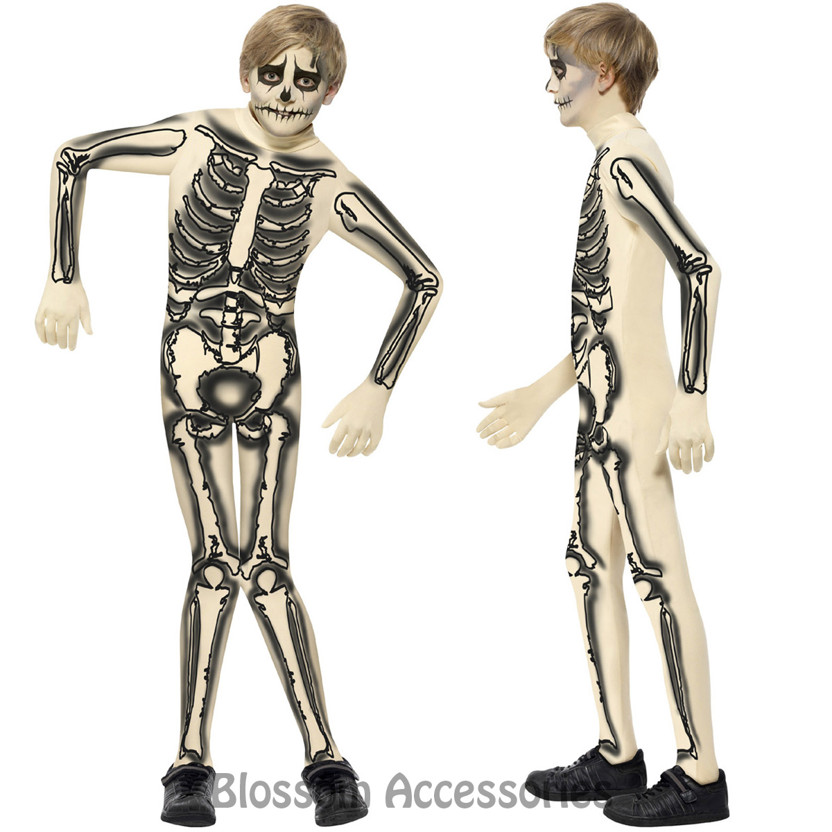 CK727 Skeleton Skin Suit Boys Skull Boned Child Halloween Fancy ...