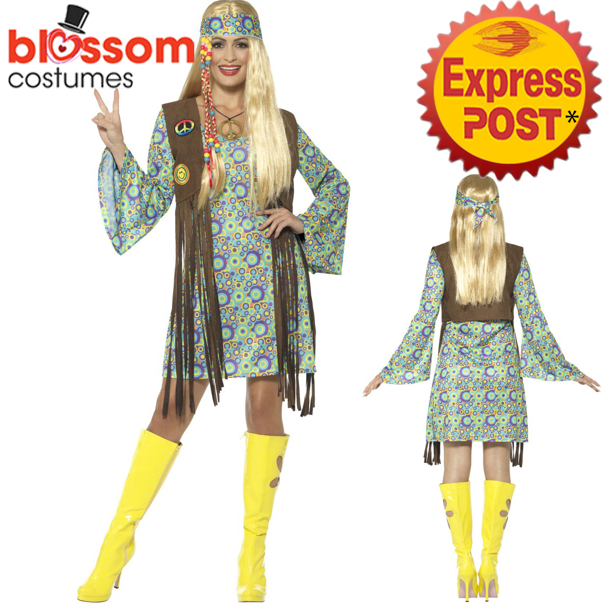 CA492-Ladies-60s-Hippie-Chick-Costume-Hippy-Peace-70s-Groovy-Fancy-Dress-Outfit