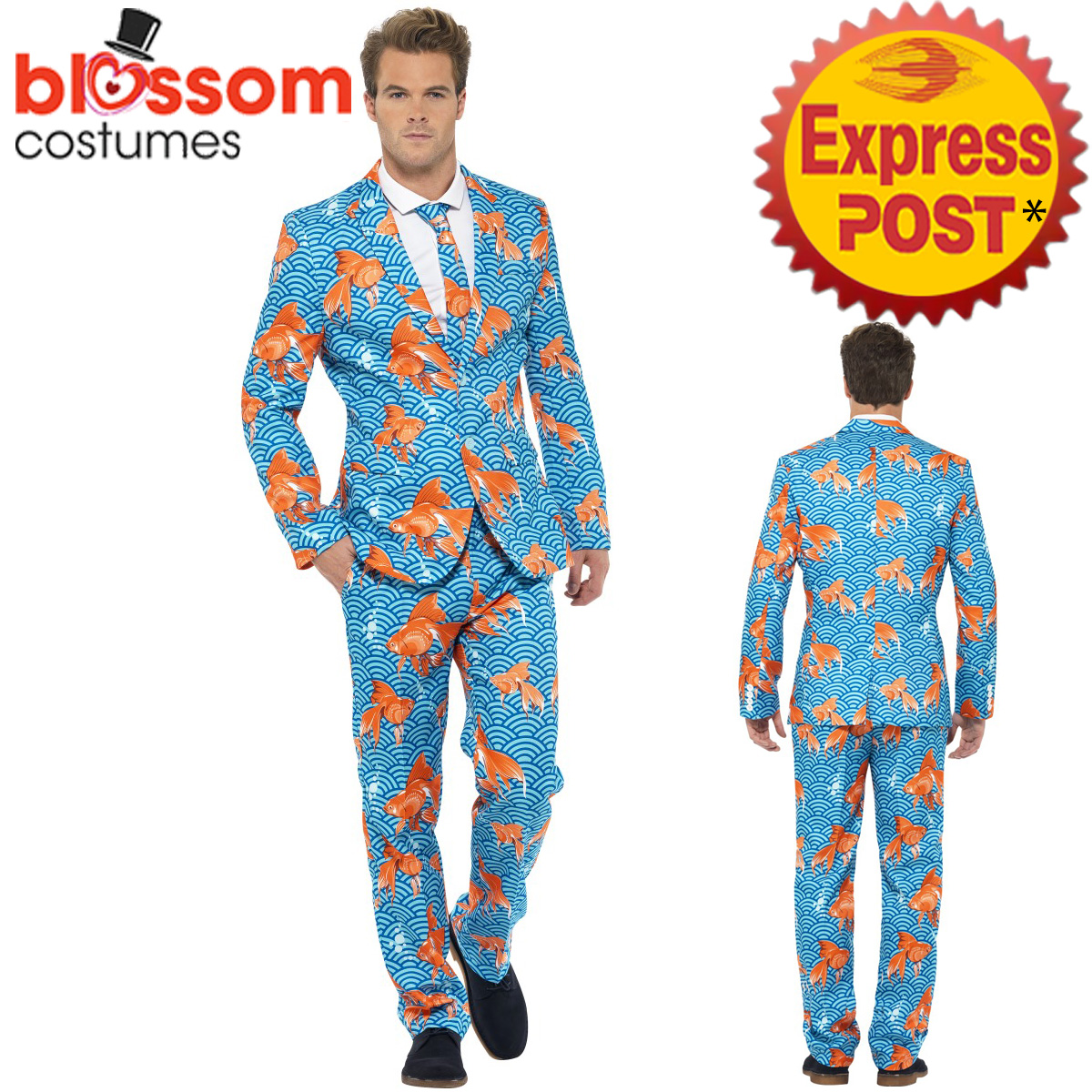 Image is loading CA304-Goldfish-Mens-Stand-Out-Suit-Stag-Do-  sc 1 st  eBay & CA304 Goldfish Mens Stand Out Suit Stag Do Party Funny Fancy Fish ...