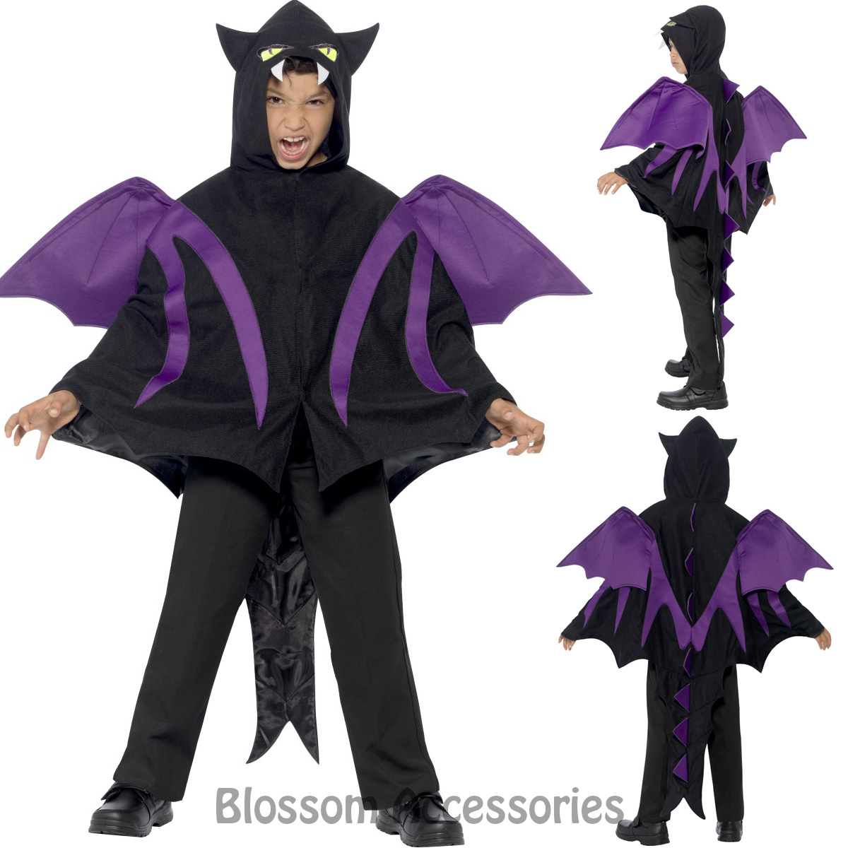 Image is loading CK870-Hooded-Creature-Cape-Halloween-Bat-Monster-Girls-  sc 1 st  eBay & CK870 Hooded Creature Cape Halloween Bat Monster Girls Boys Fancy ...