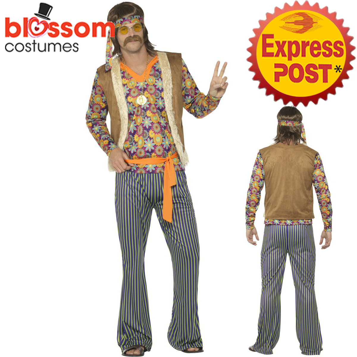 Image is loading CA494-Mens-Hippie-Singer-1960s-Costume-Hippy-60s-  sc 1 st  eBay & CA494 Mens Hippie Singer 1960s Costume Hippy 60s 70s Groovy Retro ...