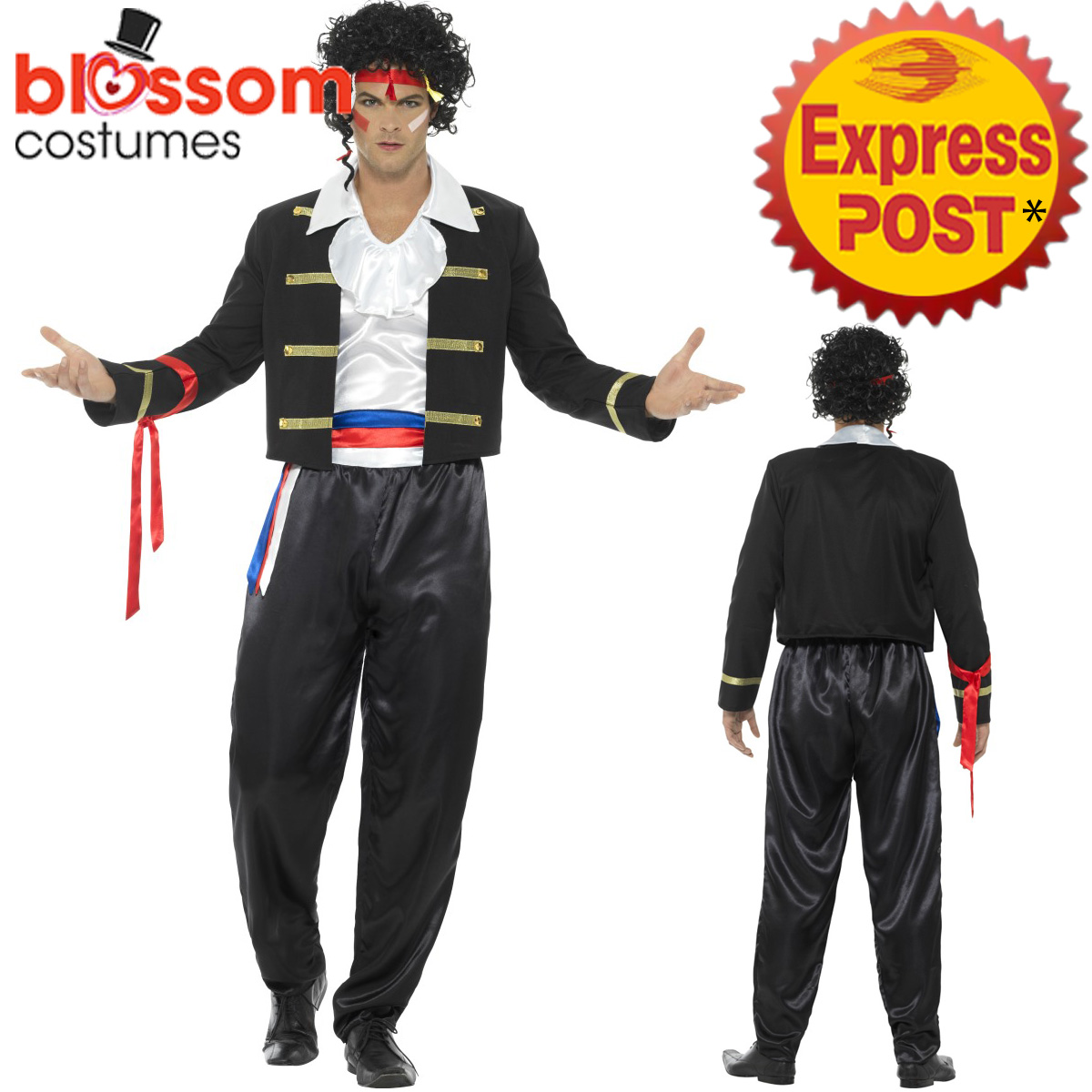Image is loading CA414-Mens-New-Romantic-80s-Adam-Ant-Boy-  sc 1 st  eBay : 80s costumes mens  - Germanpascual.Com