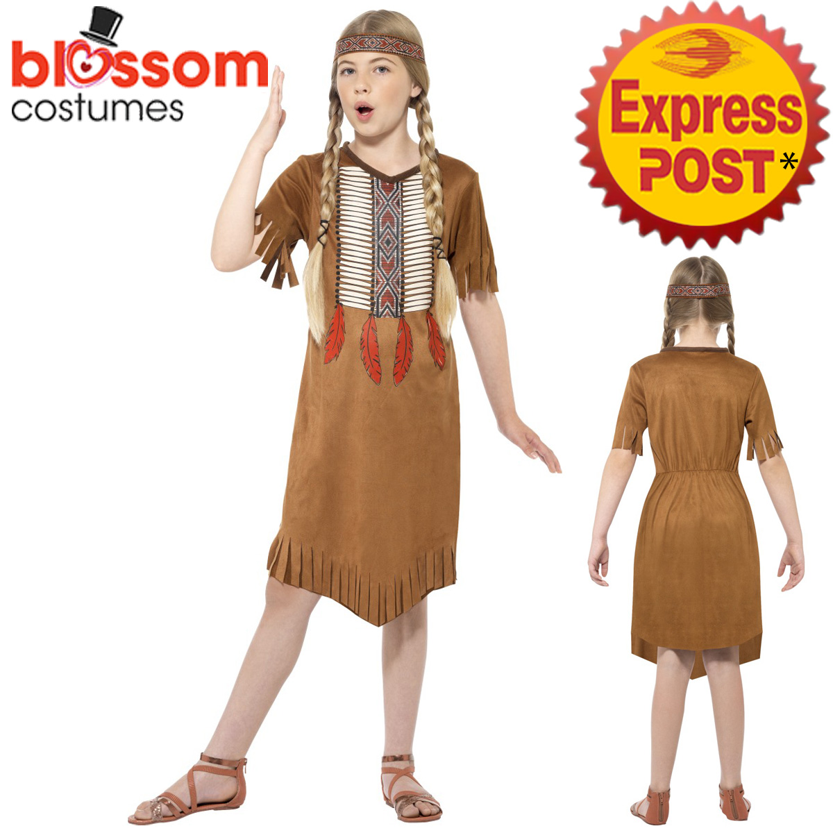 Image is loading CK947-Girls-Native-Indian-Pocahontas-American-Wild-West-  sc 1 st  eBay & CK947 Girls Native Indian Pocahontas American Wild West Fancy Dress ...
