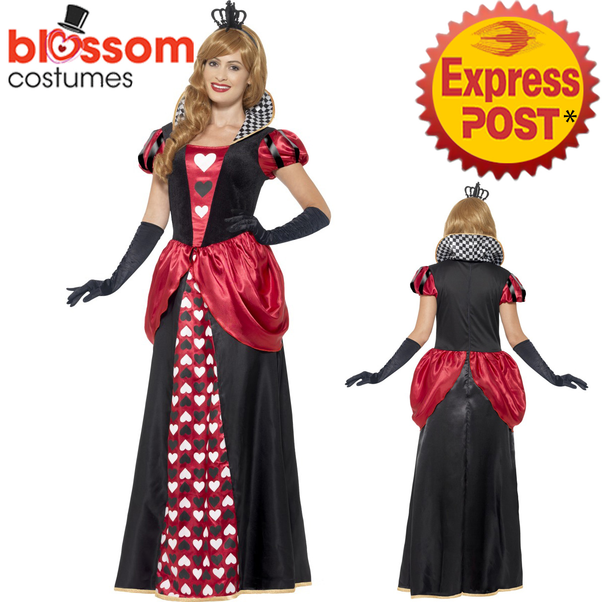 CA195 Royal Red Queen of Hearts Alice Book Week Costume Fancy Dress ...