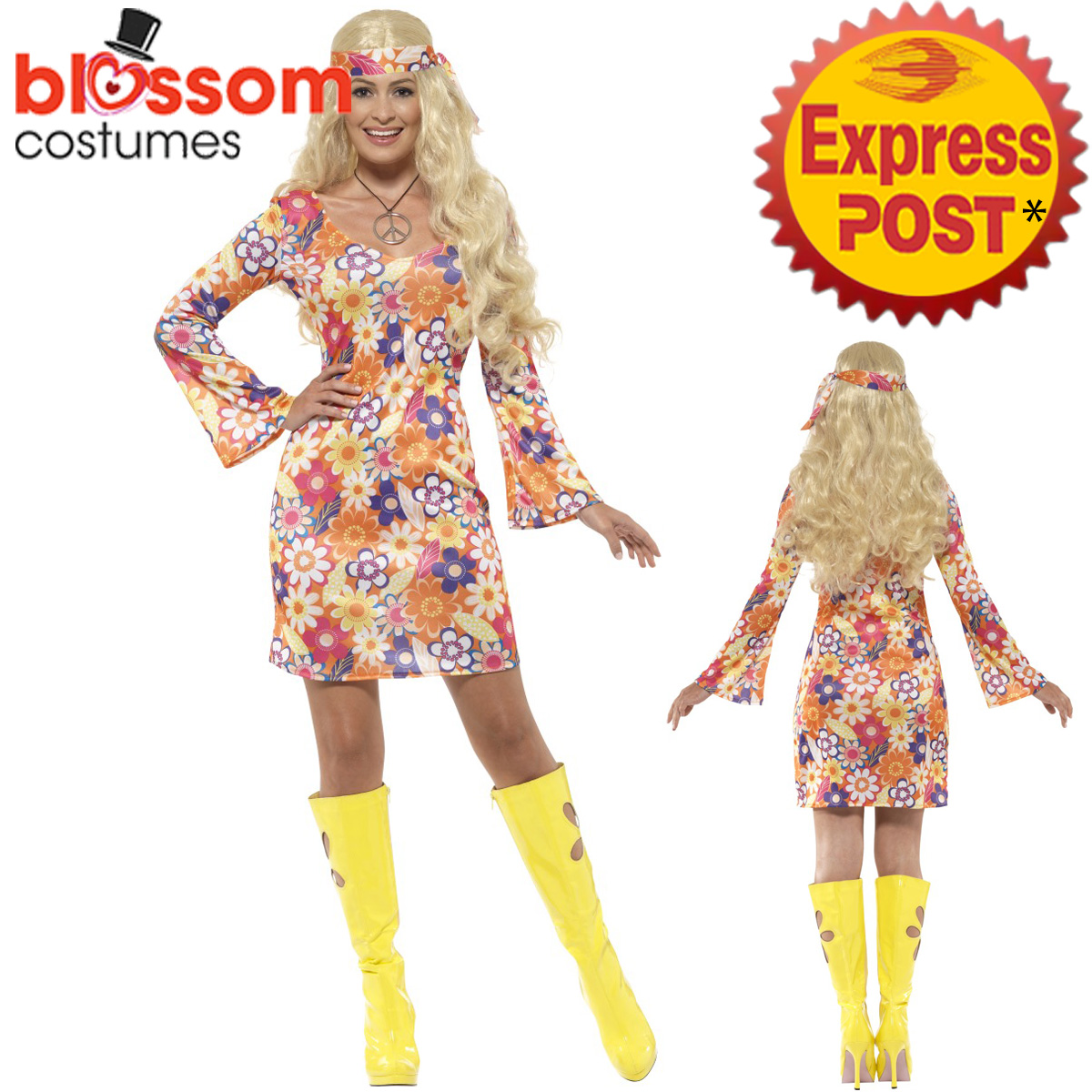 CA153-Flower-Hippie-Costume-1960-039-s-Groovy-Hippy-1970s-Retro-Fancy-Dress-Costume