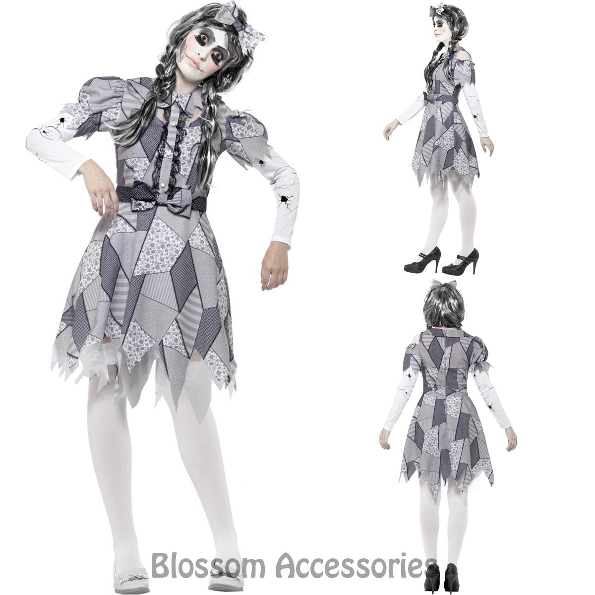 CA87 LADIES DAMAGED Broken Rag Doll Fancy Dress Halloween Zombie Horror  Costume