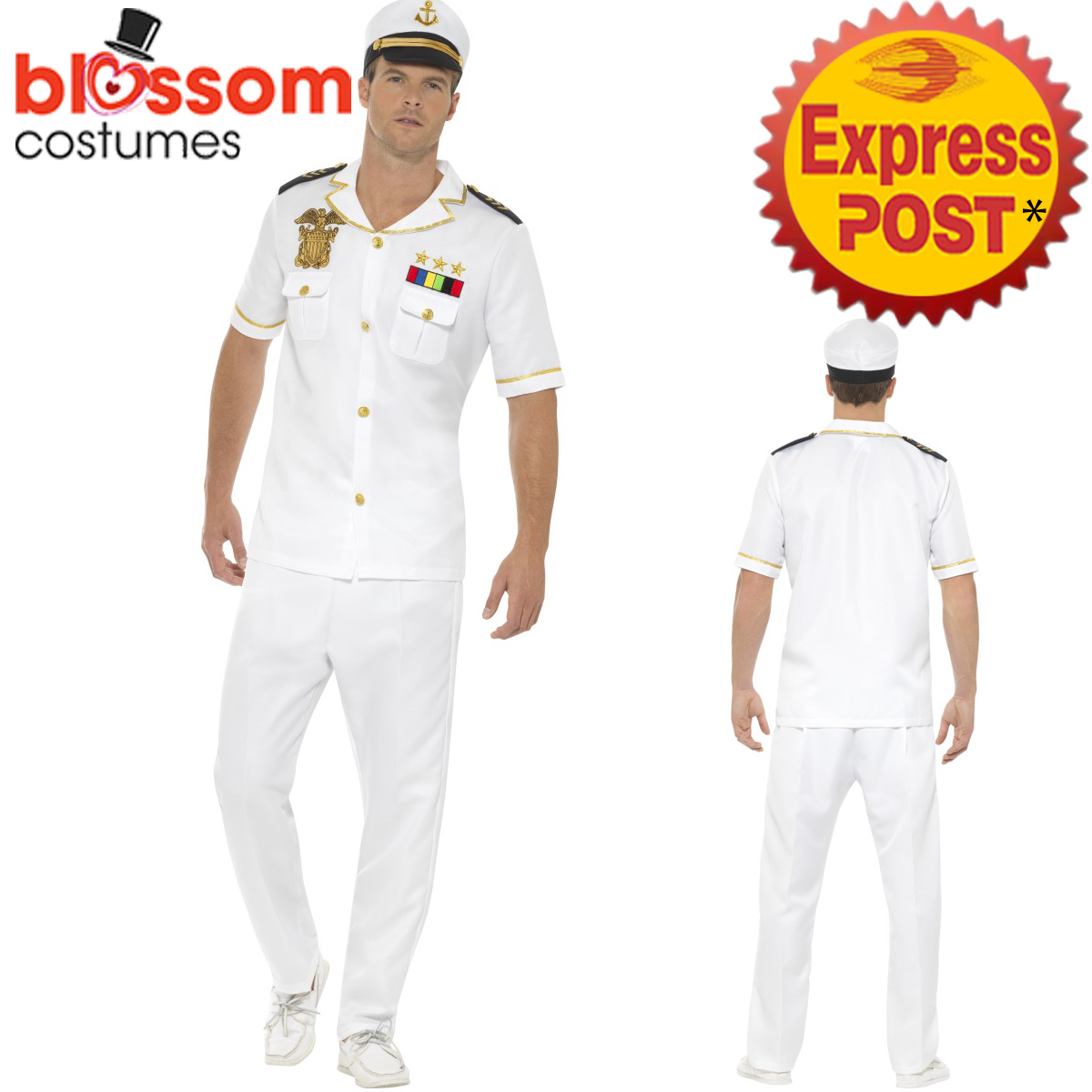 CA418-Mens-White-Sailor-Captain-Costume-Navy-Officer-Uniform-Sea-Marine-Outfit