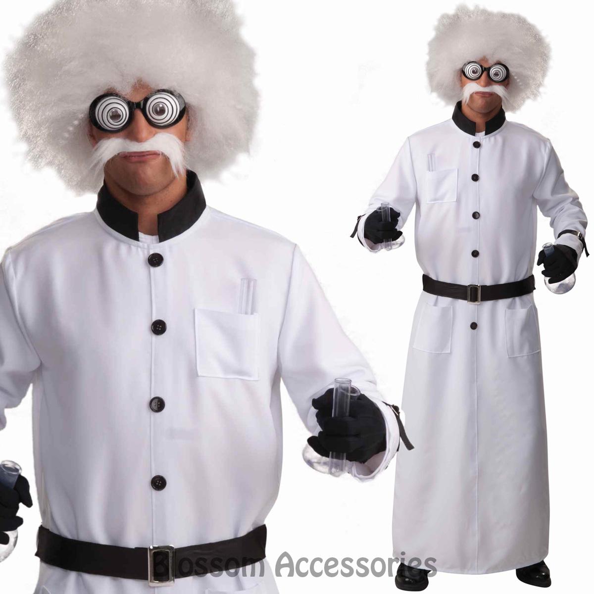 cl849 mad scientist doctor coat lab einstein halloween mens costume