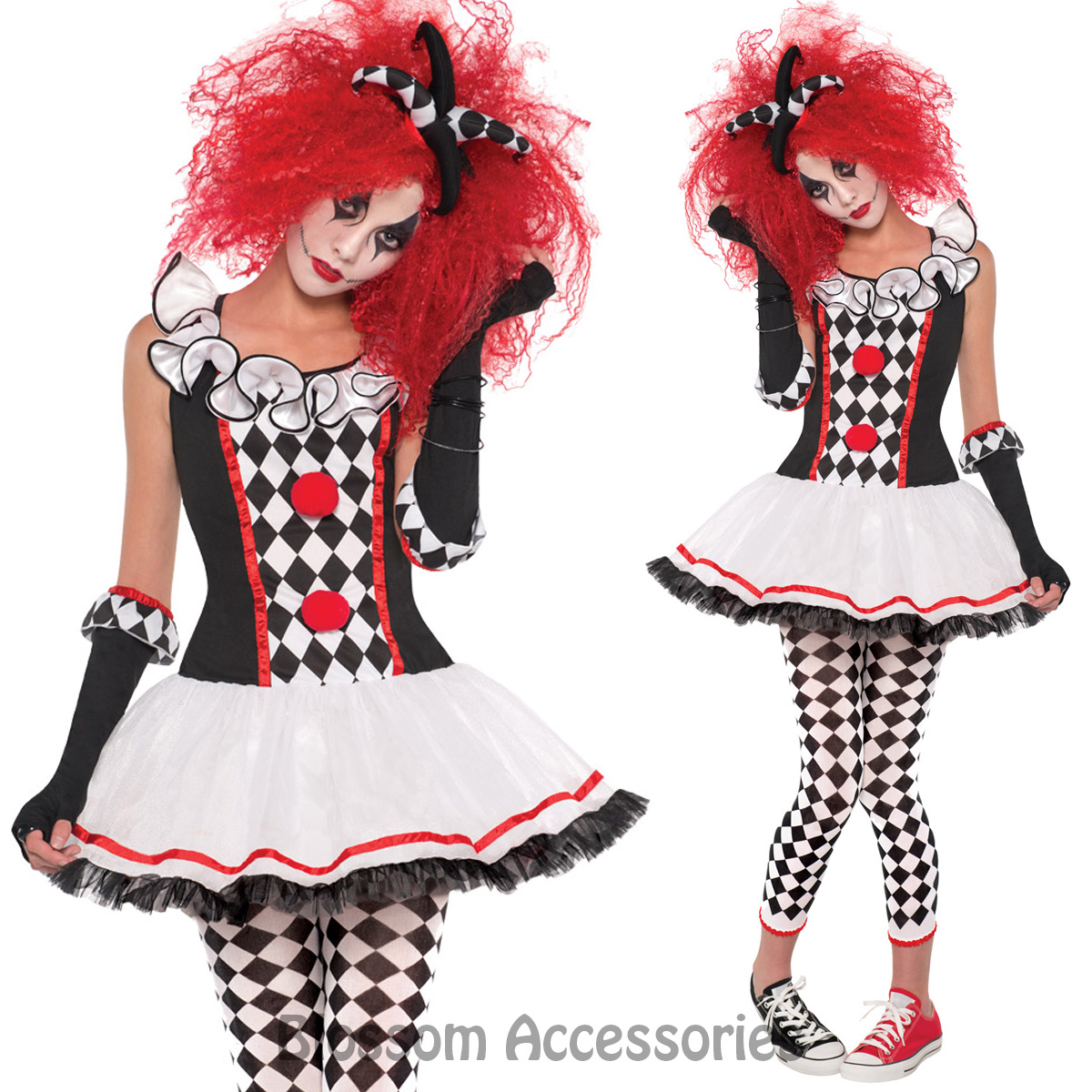 K250-Ladies-Circus-Cirque-Clown-Jester-Dress-Up-Zombie-Halloween-Costume-Outfit