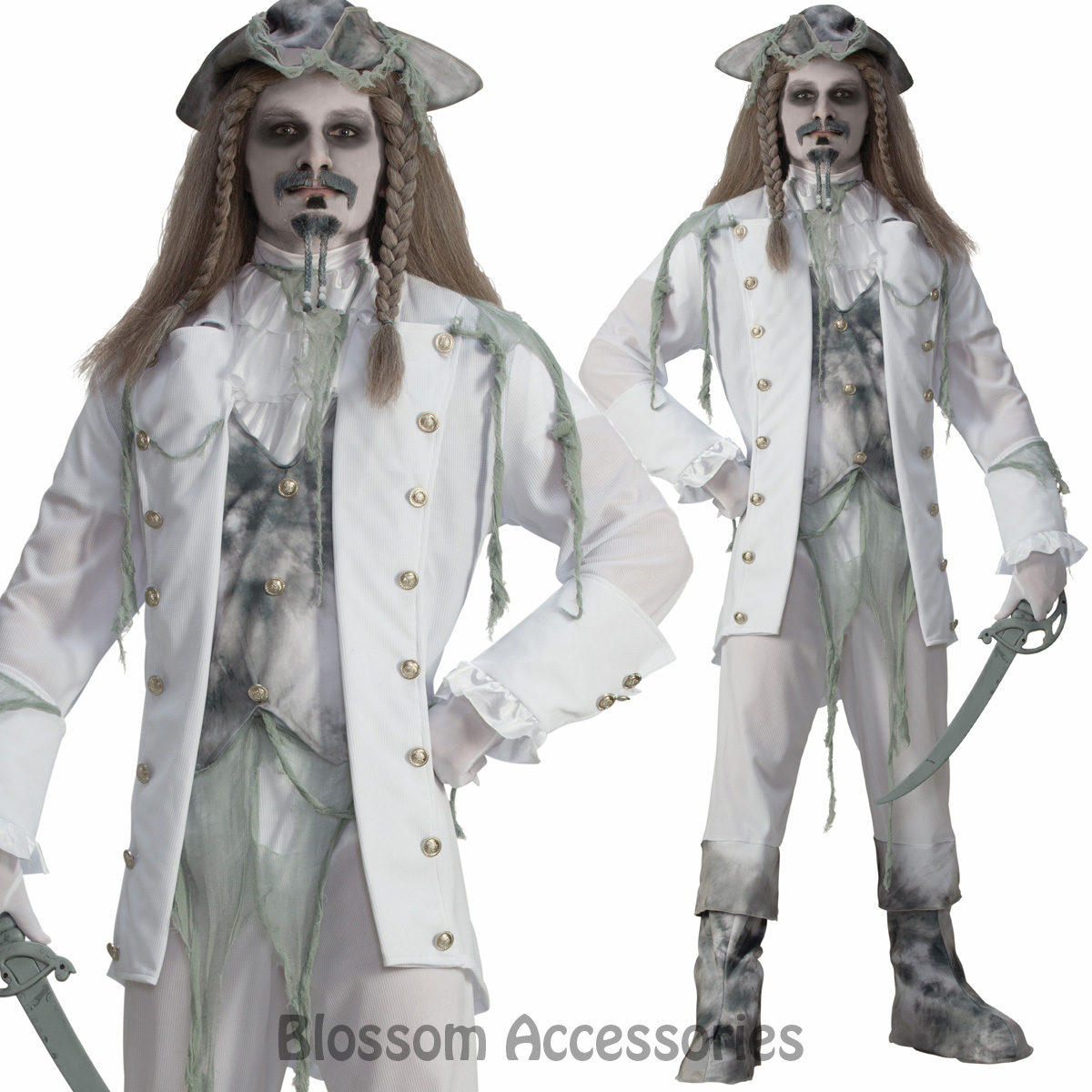 Image is loading CL851-Zombie-Ghost-Pirate-Ship-Ghoul-Halloween-Mens-  sc 1 st  eBay & CL851 Zombie Ghost Pirate Ship Ghoul Halloween Mens Party Horror ...