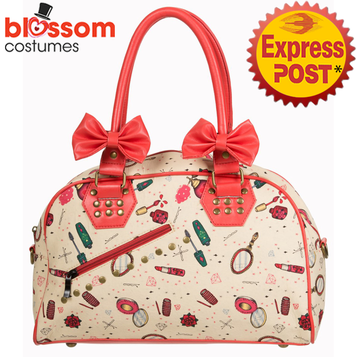 Image Is Loading Rkn57 Banned Romance Make Up 50s Bag Rockabilly