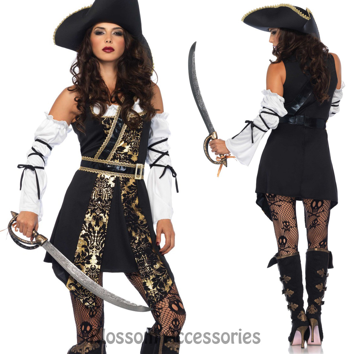 ca81 leg avenue black sea buccaneer pirate womens fancy dress