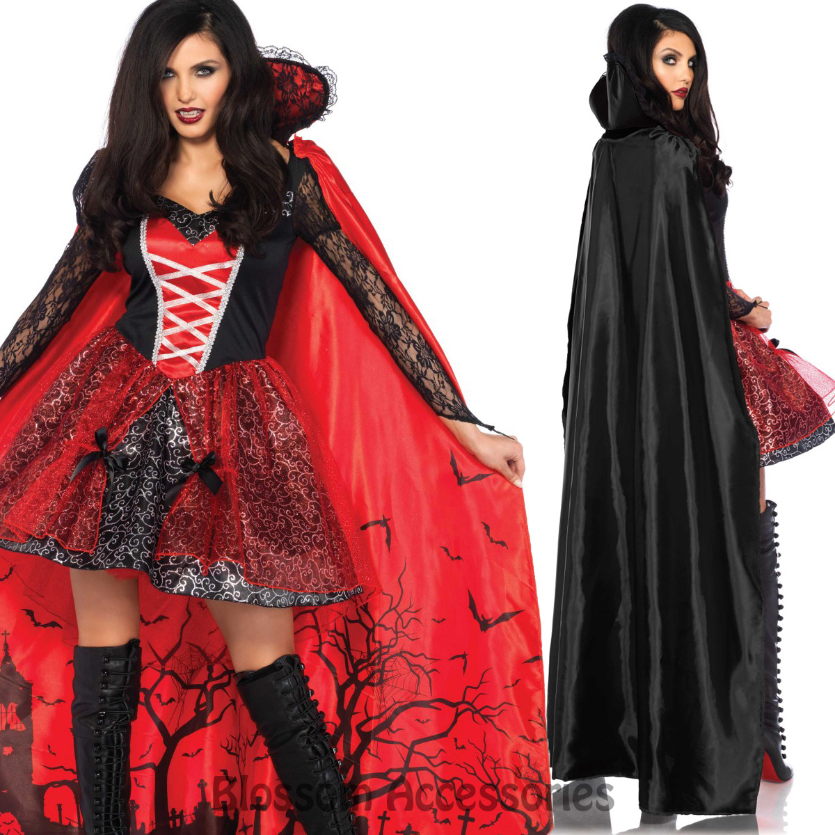 CA73 Leg Avenue Vampire Temptress Dracula Goth Gown Halloween Dress ...