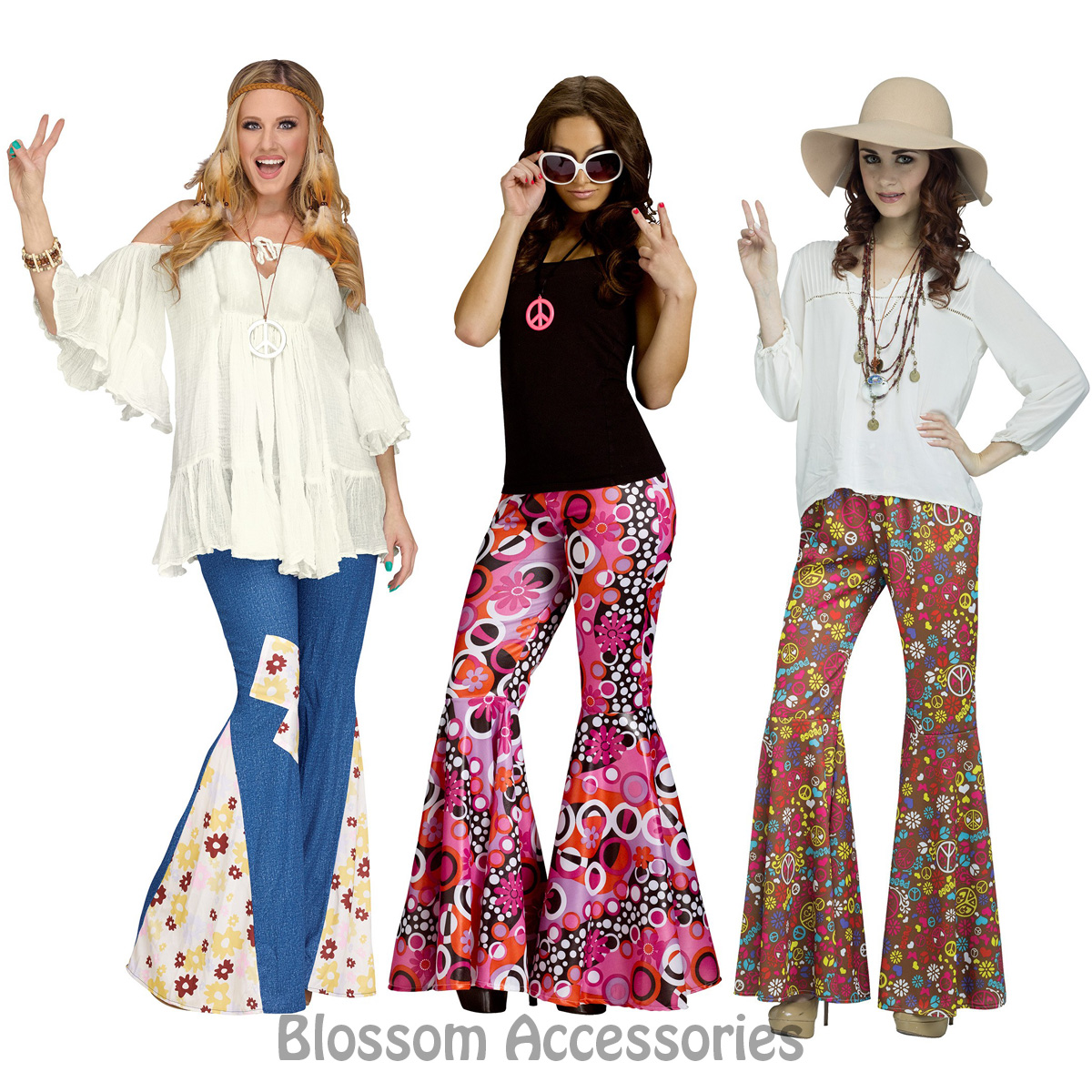CL794 Flower Power Bell Bottom 60s 70s Hippy Hippie Retro ...