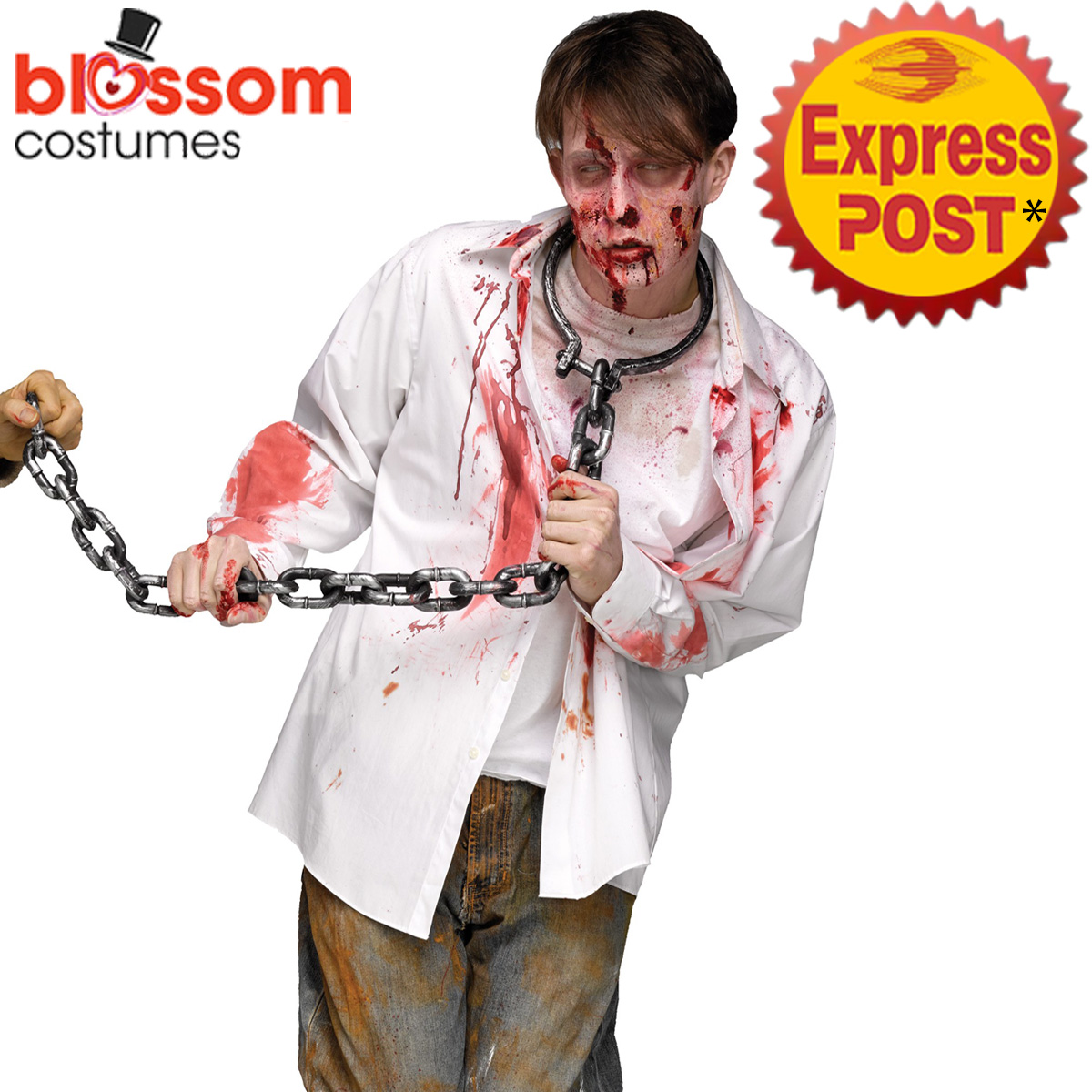 image is loading ac252 zombie chain manacle shackle neck leash halloween