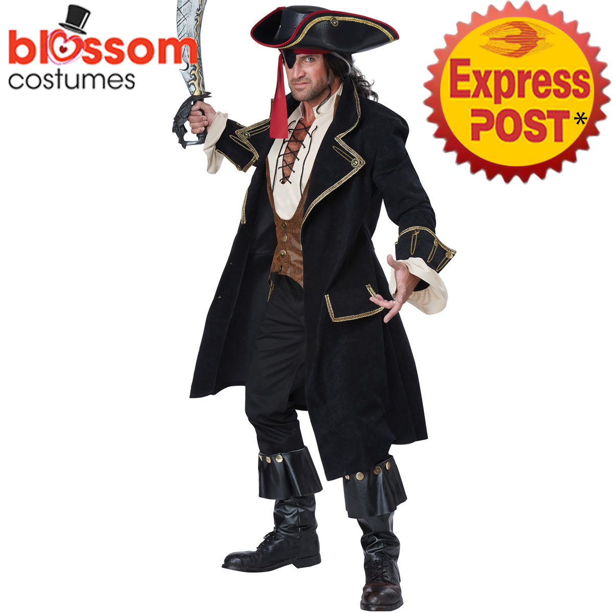 Image is loading CA144-Deluxe-Pirate-Captain-Of-The-Caribbean-Captain- 1f72875b7f91