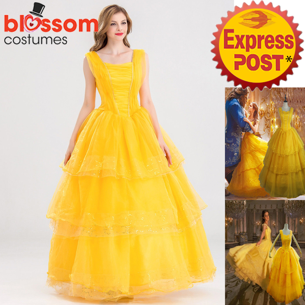 K381 Disney Belle Costume Beauty The Beast Movie Fancy Dress Gown ...