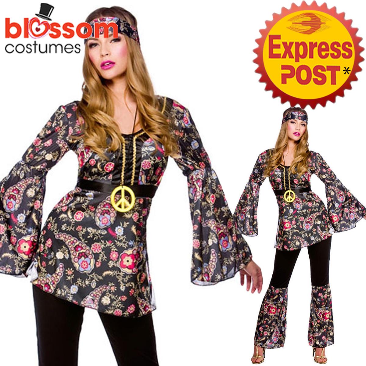 K306 Ladies 60s 70s Retro Hippie Dancing Groovy Disco Fancy