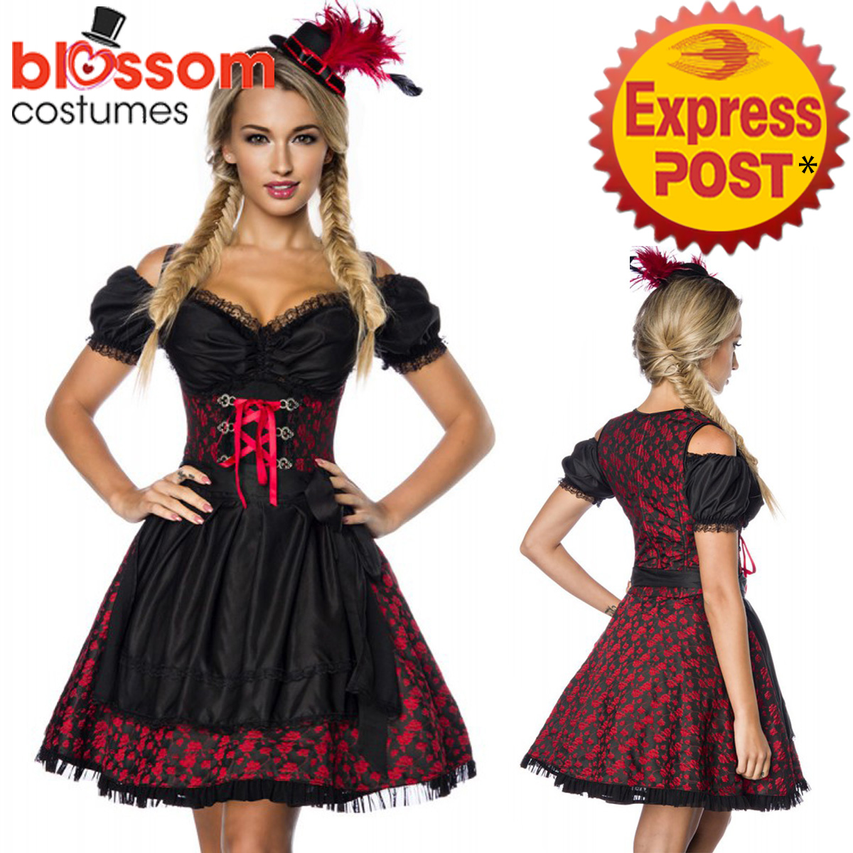 K412 Deluxe Oktoberfest Beer Maid Dress Up Heidi Costume Bavarian German Dirndl | EBay