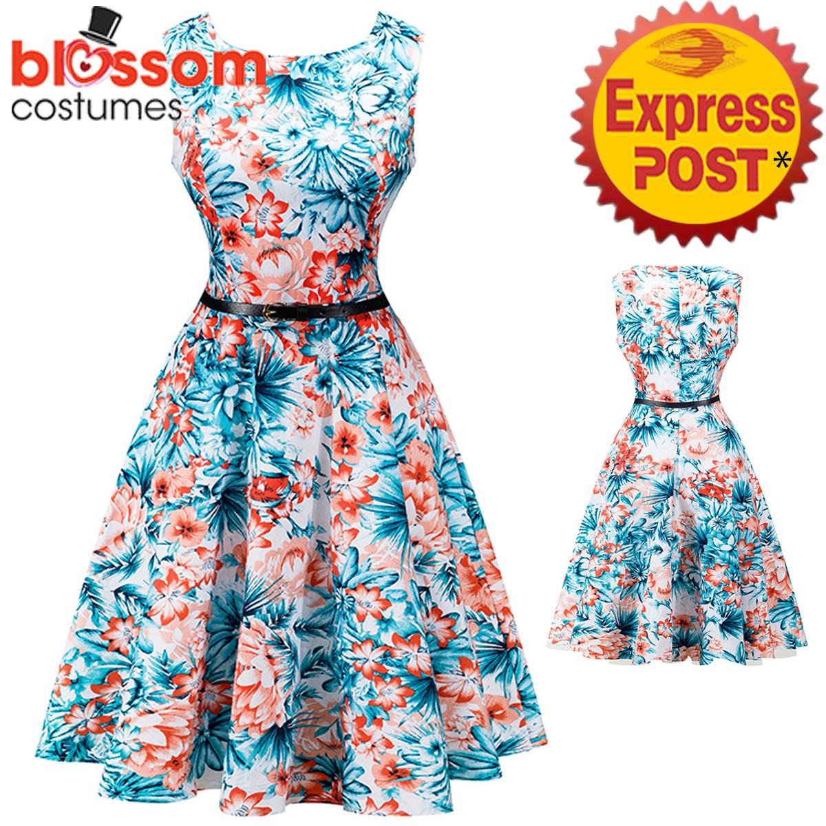 K332 Blue Flower Retro Rockabilly Vintage Party 50s Swing Dress