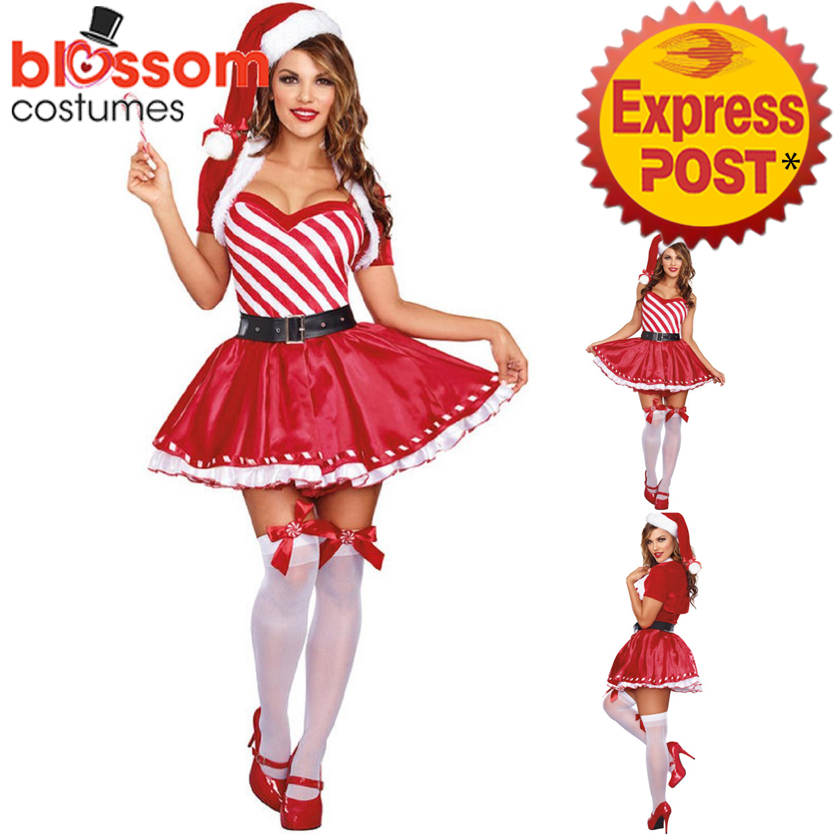 K287-Ladies-Candy-Cane-Santa-Christmas-Xmas-Fancy-Dress-Up-Costume-Hat-Outfit