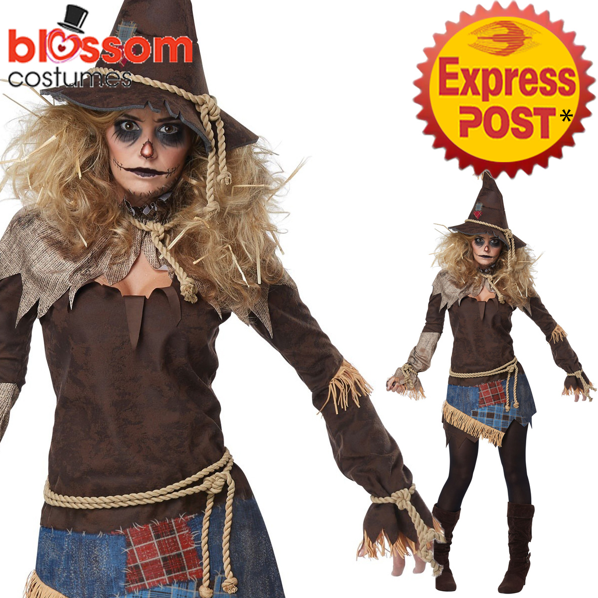 image is loading ca466 womens creepy scarecrow halloween scary horror fancy