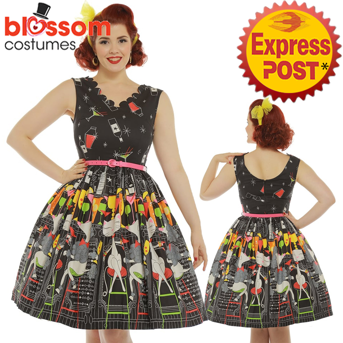 RKB50 Lindy Bop \'Daria\' Cocktail Bar Print Swing 50s Vintage ...