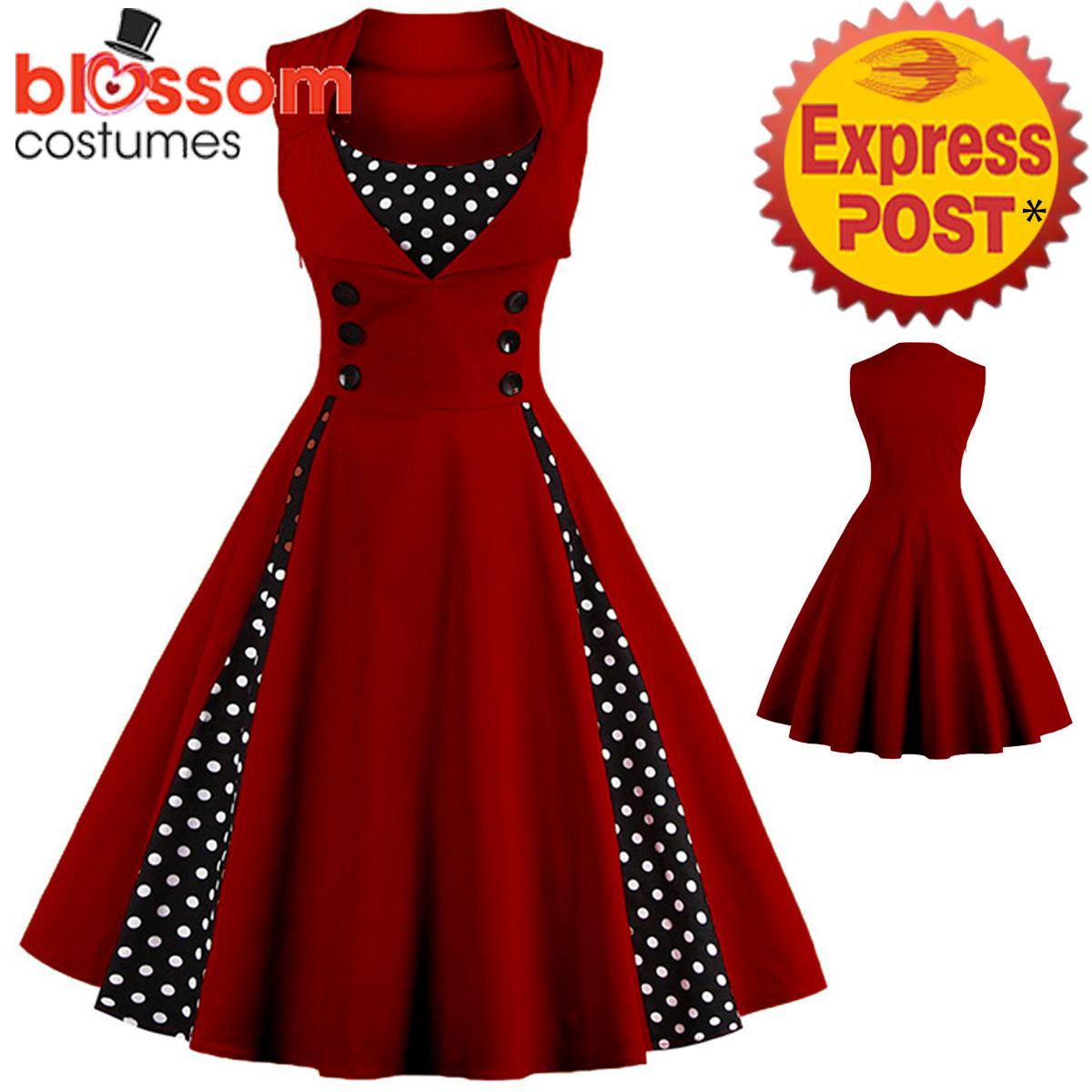 K281-Dark-Red-Retro-Rockabilly-Vintage-Polka-Dots-Swing-Dress-50s-Evening-Formal
