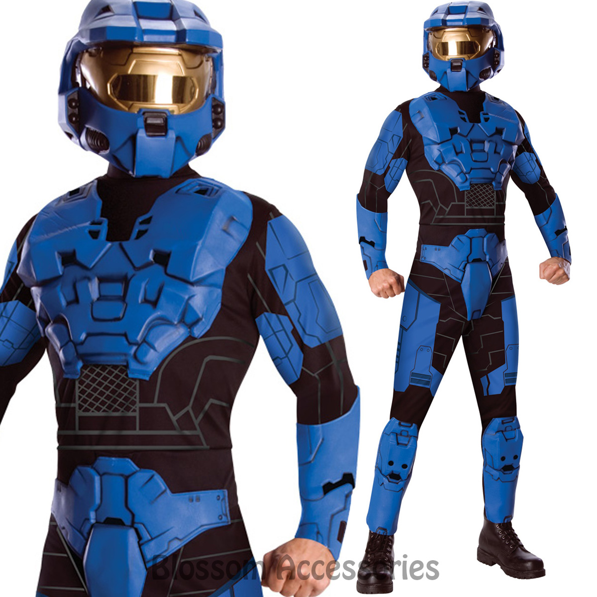 Image is loading CL892-Deluxe-Mens-Blue-Spartan-Mark-VI-Halo-  sc 1 st  eBay & CL892 Deluxe Mens Blue Spartan Mark VI Halo Costume Soldier Amour ...