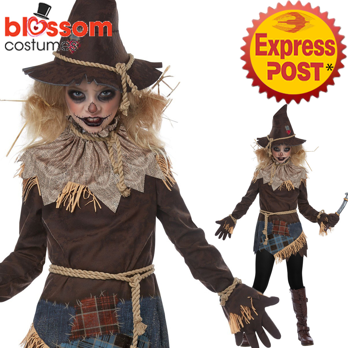 ck1069 creepy scarecrow girls halloween scary horror fancy dress
