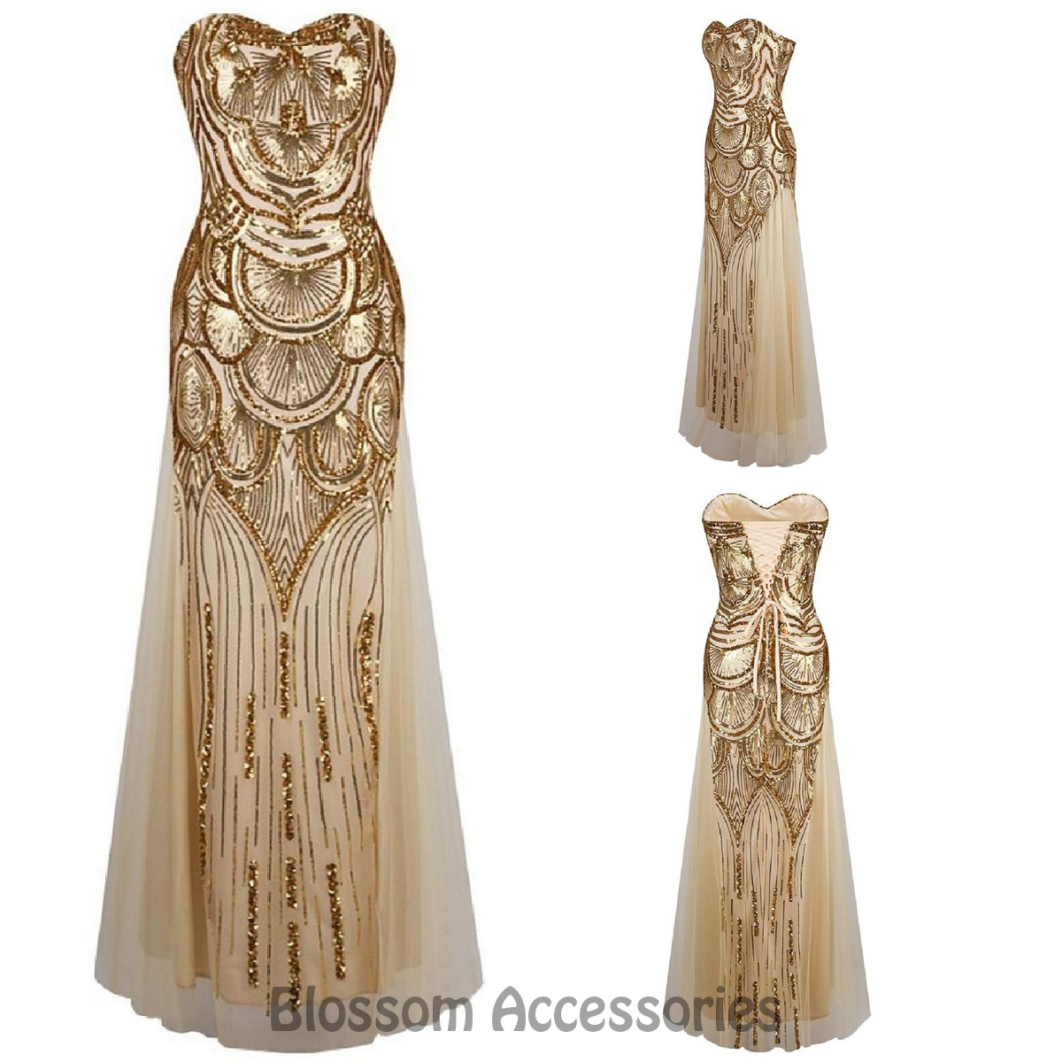 Gold Evening Gown Gatsby Womens Costume   eBay