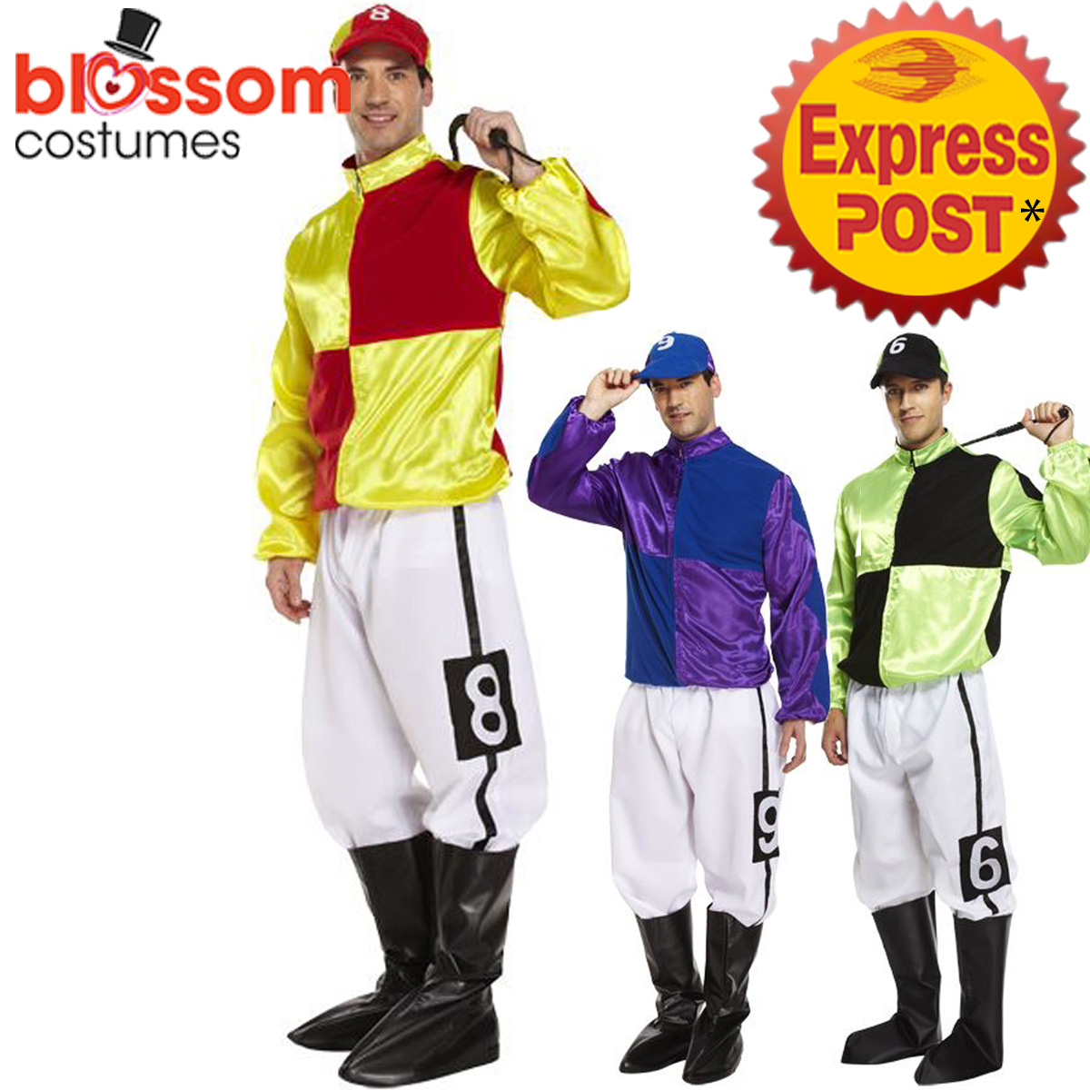 K389-Jockey-Horse-Rider-Mens-Uniform-Fancy-Dress-Up-Sports-Melbourne-Cup-Costume