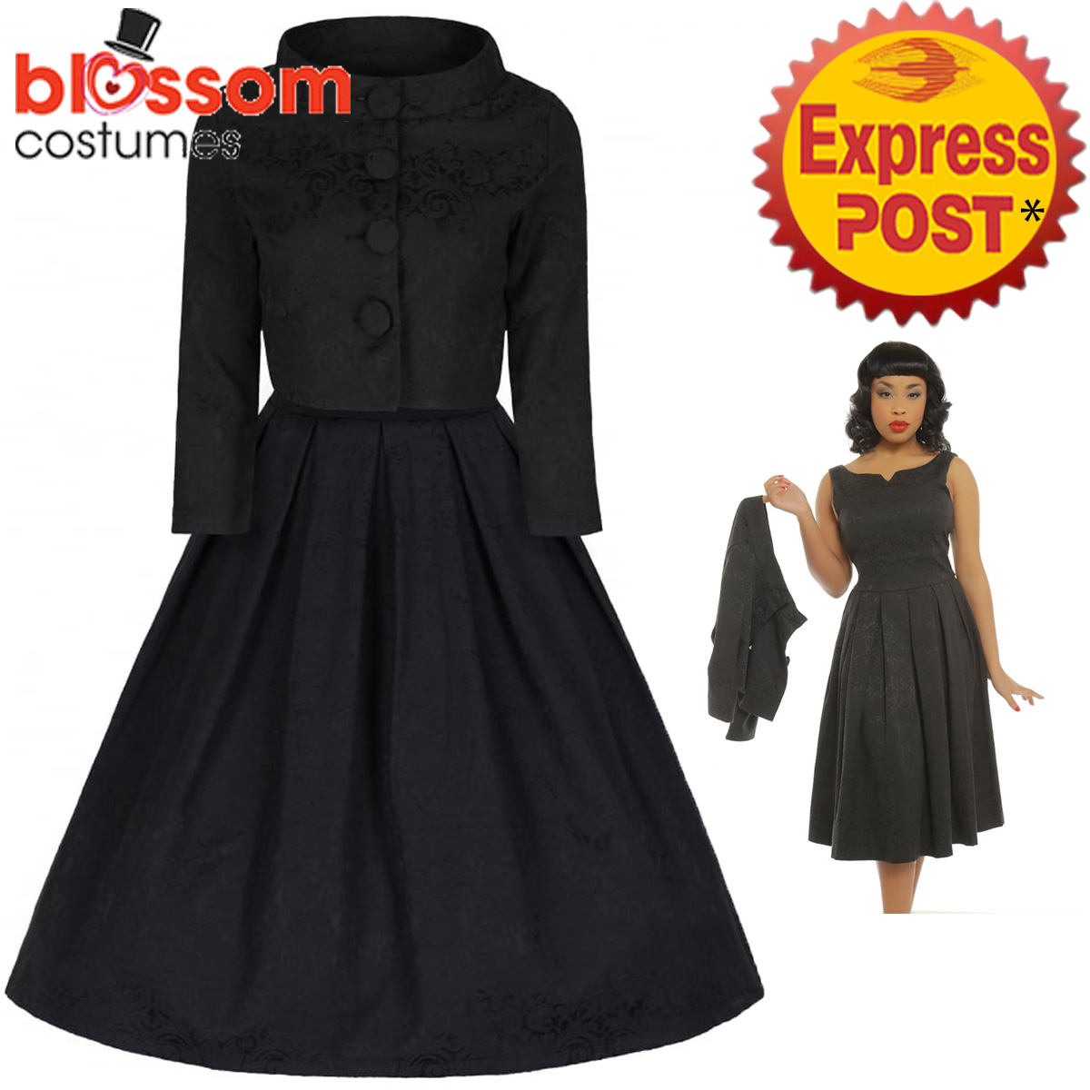 e5966bb3517b RKB57 Lindy Bop Marianne Black Swing Dress and Jacket Vintage ...